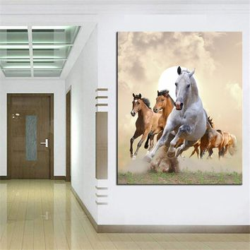 DPARTISAN Animal Paintings and Wall Art Horses Run Original Painting Large print on canvas for home decor