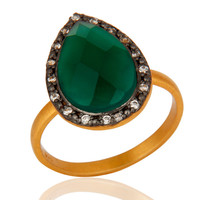 Handmade 18k Gold Plated Sterling Silver Green Onyx Gemstone Ring With CZ
