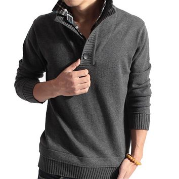 Men Casual Slim Sweater / Men Buttoned High Collar Solid Color Sweater