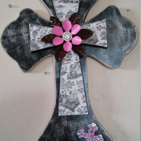Black Shamrock wooden cross with French old design cross overoverlay- pink metal and diamond flower rosette and cross embellishment