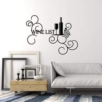Vinyl Wall Decal Wine List Bottle Glass Grapes Bar Restaurant Alcohol Stickers Mural (ig5369)