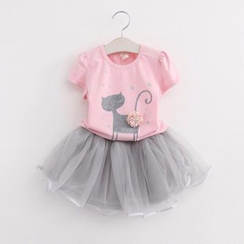 Hot Cute Summer Girls Clothing Sets Casual Cotton Short Sleeve T-shirt+yarn tutu Skirts Children Kids Girl Clothes 2pcs Set 2-7Y