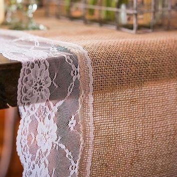 "Burlap And Lace Table Runner With Vineyard Monogram (120"" / 3.0m long) Berry (Pack of 1)"