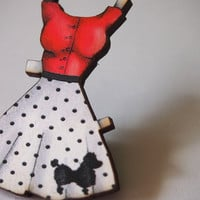 Rock n Roll Red Paper Doll Dress Laser Cut Wood Brooch