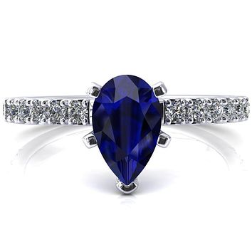 Nefili Pear Blue Sapphire 5 Prong 3/4 Eternity Diamond French Pave Engagement Ring