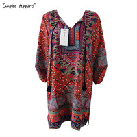 Simplee Apparel 60's dashiki vintage summer dress v neck ethnic print casual women dress half sleeve retro vestidos de fiesta