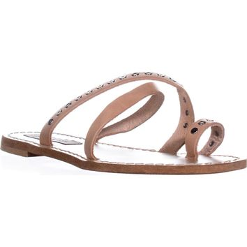Steve Madden Becky Flat Toe Ring Sandals, Tan, 6.5 US