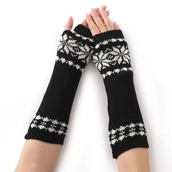 2017 Winter Women Girls Lady Arm Warm Knitted Fingerless Long Gloves Snowflake Pattern Elbow Mittens Gloves Soft 5 Colors New