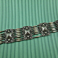 Vintage Sterling Silver Wide Bracelet Mexico Sterling Repousse Metalwork Aztec or Peruvian Design Pyramids Panels Antique?? Interesting!!