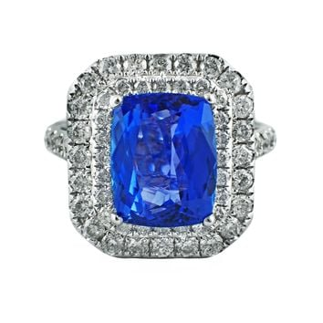 3.77tcw Cushion Cut Tanzanite & Diamonds in 14K White Gold Double Halo Cocktail Anniversary Ring