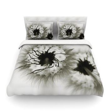 "Skye Zambrana ""Wishes"" Gray Flower Featherweight Duvet Cover"