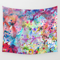Abstract Bright Watercolor Paint Splatters Pattern Wall Tapestry by Girly Road