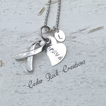 Personalized Support Ribbon Necklace -- brave
