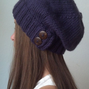 Knit slouchy hat - PURPLE (more colors available - made to order)