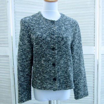 Vintage 80s Cardigan Sweater Jacket Grey Black White Tweed Knit Light Weight Cardigan Cropped Made in USA Womens 12 Alfred Dunner