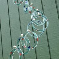 Recycled wine bottle wind chime, Juniper wood, Hand painted,  Beads, circle glass windchime