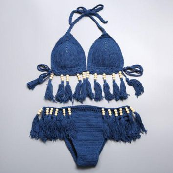 DCCKN6V Sexy pure color halter blue tassel Beaded weave knit two piece bikini