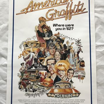 """AMERICAN GRAFFITI"" 1973 ORIGINAL MOVIE POSTER FIRST ISSUE 27X40 DREYFUSS HOWARD"