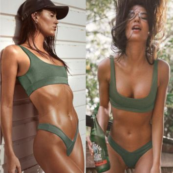 Summer new fashion solid color vest two piece bikini swimsuit Green