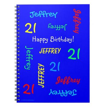 21st Birthday Party Blue Guest Book, Repeat Name Notebook