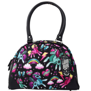 Liquorbrand Unicorns Pony Rainbows Scene Tattoo Vegan Bowling Purse Handbag