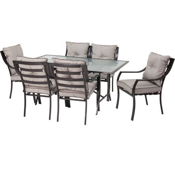 7 Piece Outdoor Patio Furniture Metal Dining Set With Cushions