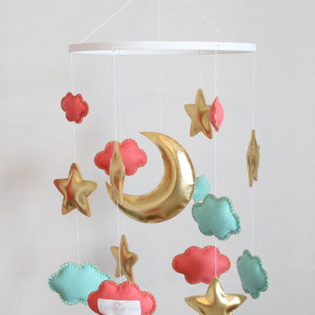 Coral and mint mobile - Metallic gold decor - Baby crib mobile - Cloud mobile - Stars mobile - Coral and mint nursery - Felt crib mobile