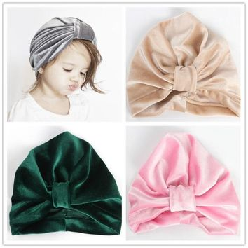 New Gold Velvet Knot Children Indian Hat Bandanas Baby Girls Kids Turban Headband Hair Head Bands Wrap Accessories Cap Headwrap