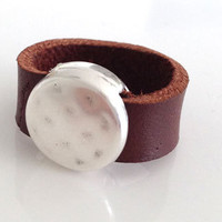 Leather and Metal Ring / Brown Leather / Rustic Band / Boho / Unisex