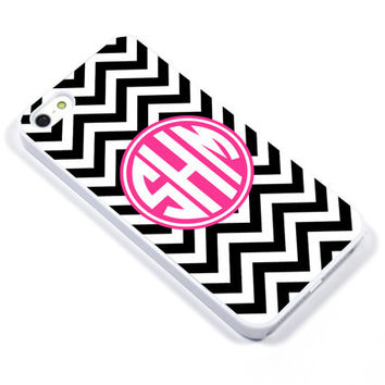 Personalised iPhone Case iPhone 5 iPhone 5s iPhone 5C iphone 4 Samsung Galaxy S3 S4 - Monogram Chevron pink black - p08