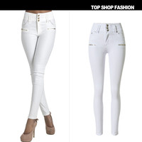 High Waist Denim Women's Fashion Hot Sale Stretch Decoration Zippers Plus Size Pants [6451819716]
