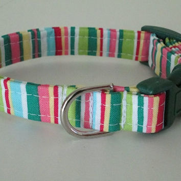 XS dog collar Adjustable Handmade Bright Stripes Toy Breeds Lilly Pulitzer Inspired