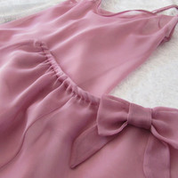 Pretty in Pink Lingerie Set: Bias-cut Chiffon Camisole and French Knickers. Handmade by Biscuit Couture.
