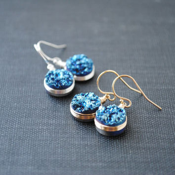 Blue Druzy Earrings, Druzy Earrings, Round Druzy Earrings