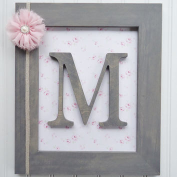 Framed Nursery Letters, Frames, Shabby Pink Nursery, Framed Wall Letters, Shabby Nursery Decor, Nursery Art, Pink Shabby Chic Nursery, Baby