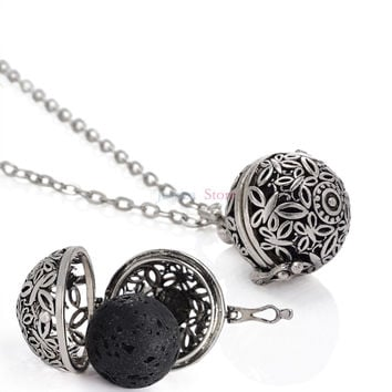 5Pcs Antique 16mm Lava Stone Essential Oil Diffuse Necklace Diffuse Locket Aromatherapy Perfume Locket Pendant Necklaces