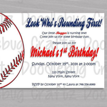 Printable Baseball 1st Birthday Party Invitations! Custom Personalized. 24hr turn around. Sports - Little Slugger