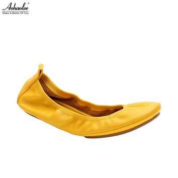 Aohaolee 3 Pairs Women Shoes Flats Comfortable Genuine Leather Bridal Shoes Ballerina Ballet Flats Foldable Flats Pregnant Shoes