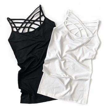 Black and White Criss Cross Strap Tank Top