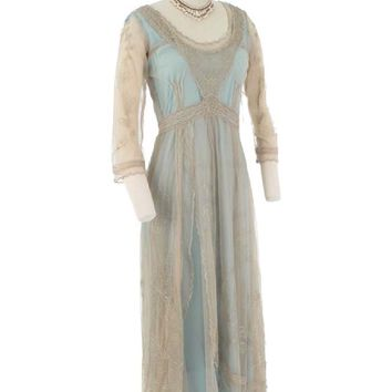 Blue and Antique Beige Embroidered Edwardian Dress