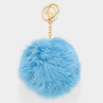 Large Rabbit Fur Pom Pom Keychain, Key Ring Bag Pendant Accessory - Pastel Blue