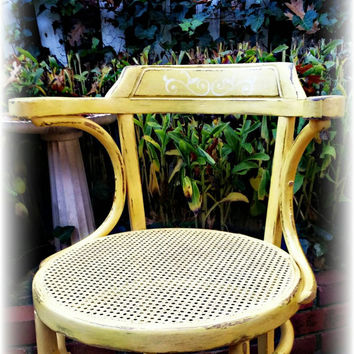 Vintage distressed shabby chic, cottage, wood chair  handpainted yellow chair rattan seat, country cottage, cottage dining set, rustic