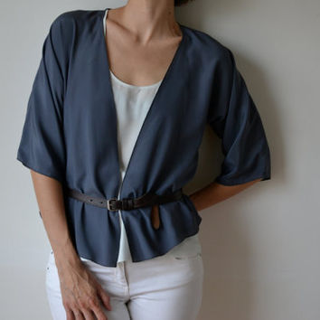 Dark grey titanium silky cropped kimono jacket.  Made to order.
