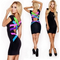 Fashion Little Black Pencil Midi Dress Bandage Neon Strappy party Cocktail Bodycon (Size M Color Black) = 1696620228