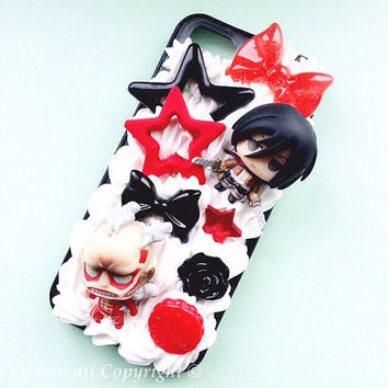 Custom kawaii anime manga Attack on Titan Decoden Phonecase for Iphone 4/4s 5, Samsung Galaxy S5 S3 S4 Note, HTC