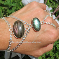 Labradorite Silver Slave Bracelet, Hand Chain, Labradorite Bracelet, Labradorite Jewelry, Handflower, Bracelet Ring, Hand Jewelry, Ring