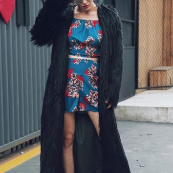 Black Open Front Faux Fur Longline Coat