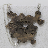 Puzzle Piece Interlocking Necklaces 3 Piece Set Leather Pendants