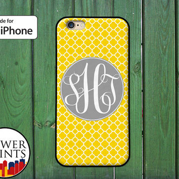 Yellow And Grey Monogram Cursive Initials Clover Pattern For Rubber iPhone 4 and iPhone 5 and 5s and 5c and iPhone 6 and 6 Plus + iPhone SE