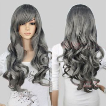 Womens Long Chic Gray Harajuku Costume Wig Heat Resistant Hair Cosplay Costume
